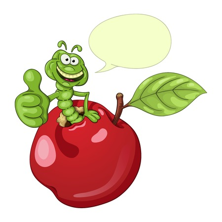 cartoon insect: Funny cartoon worm coming out of an apple and shows his thumb with approval. With speech bubble Illustration