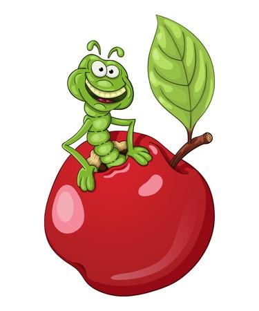 oruga: gusano divertido de la historieta que sale de una manzana Vectores