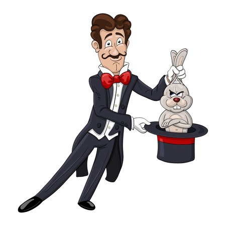 displeased: Smiling magician pulls out a displeased rabbit from a hat Illustration