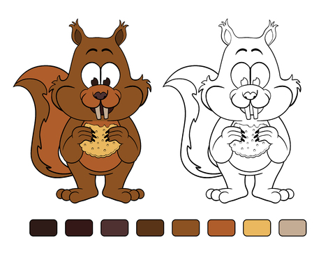 downy: Squirrel with cookie. Coloring book
