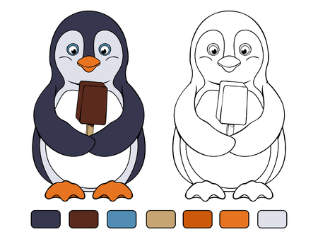 choc: Joyful penguin holds chocolate ice cream in his wings. Coloring book Illustration