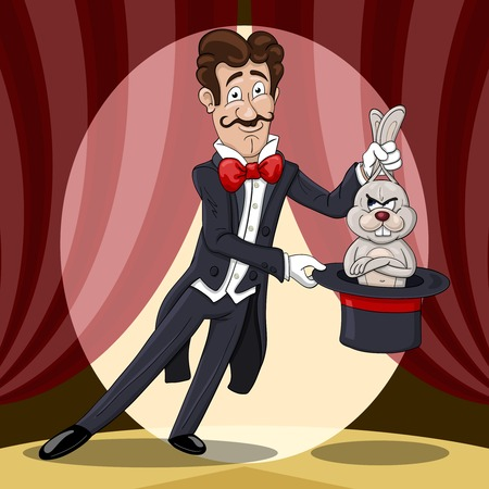 Smiling magician  pulls out a displeased rabbit from a hat against the stage curtains Ilustração