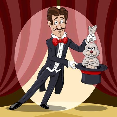 Un mago sonriente saca un conejo disgustado de un sombrero contra las cortinas del escenario