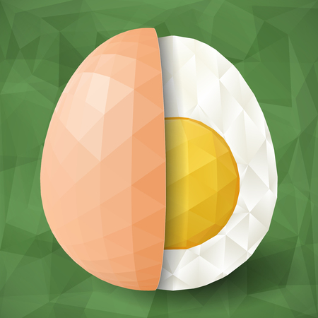 boiled: Abstract egg with polygonal surface on triangular green background. Half of boiled egg and eggshell. Illustration