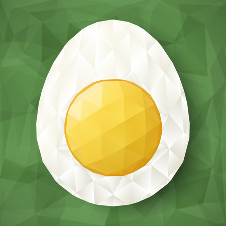 Abstract egg with polygonal surface on triangular green background. Half of boiled egg. Illustration