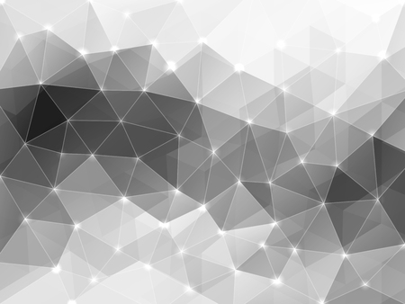 gamut: Abstract polygonal background with shining dots and crossing lines. Greyscale gamut Illustration