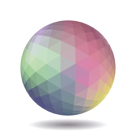 vertex: Abstract polygonal sphere for graphic design. Isolated on white