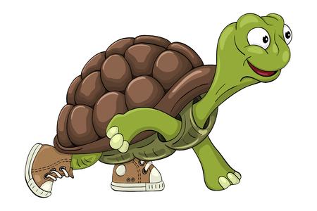 Cartoon turtle in sneakers readies to start  running Ilustração