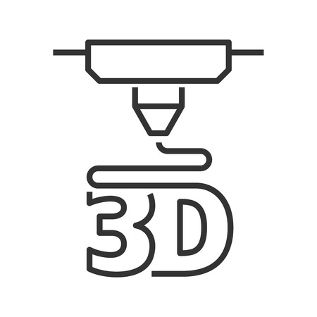 3d: 3D printer line style icon Illustration