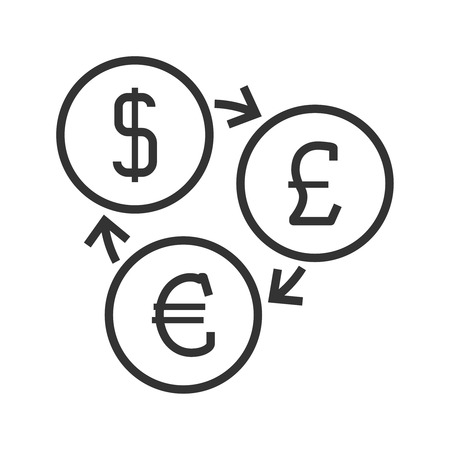 money button: Currency exchange line icon. Dollar, pounds sterling and euro symbols.