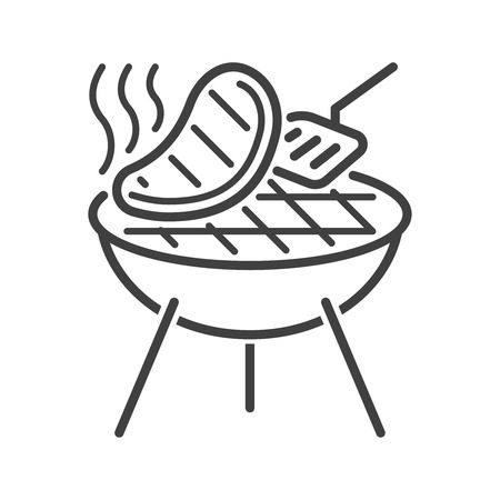 Line style barbecue icon Illustration