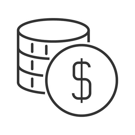 monetary: Stack of coins. Line style icon
