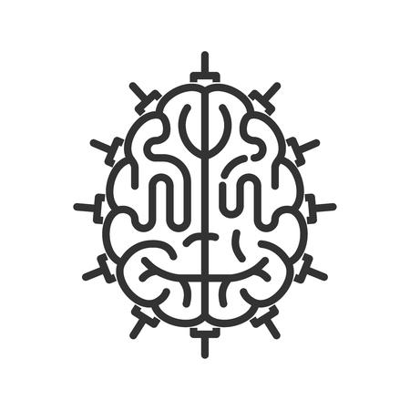 Cerveau comme unité centrale de traitement. icône de style de ligne. concept d'intelligence artificielle Vecteurs