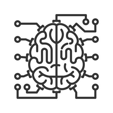 Cerveau comme unité centrale de traitement avec des éléments de carte de circuit imprimé. icône de style de ligne. concept d'intelligence artificielle Vecteurs