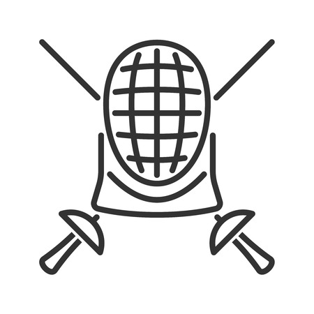 swordsmanship: Line style fencing icon Illustration