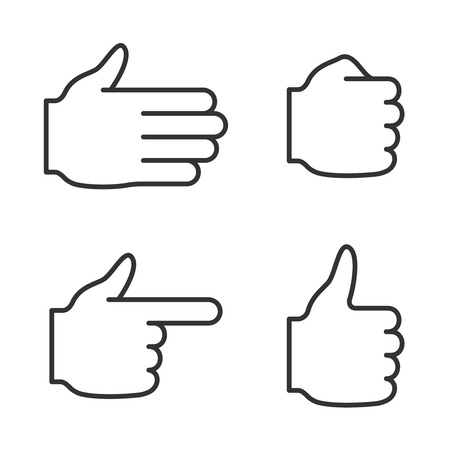 Set of hand icons. Line style Illustration