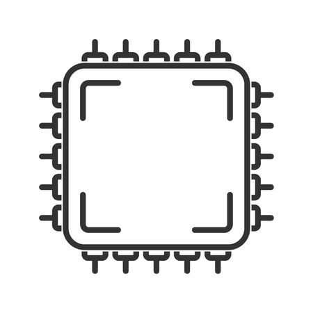 semiconductors: Central processing unit icon. Line style