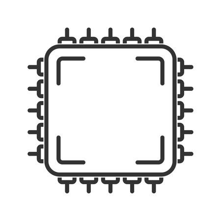 icono de la unidad central de procesamiento. estilo de línea