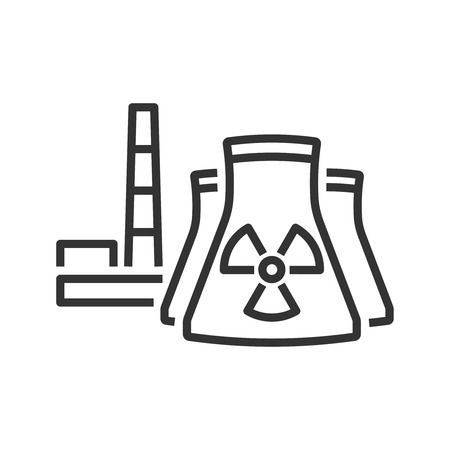 Nuclear power plant icon. Line style Illustration