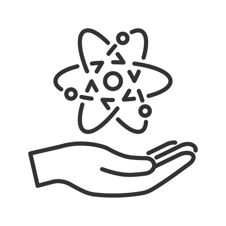 peace concept: Modern line icon of atom model in hand. Peace atomic energetics concept