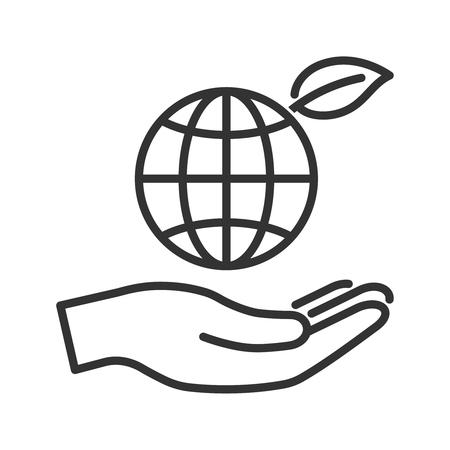 leaf line: Globe with leaf in hand. Elegant line icon. Ecology concept