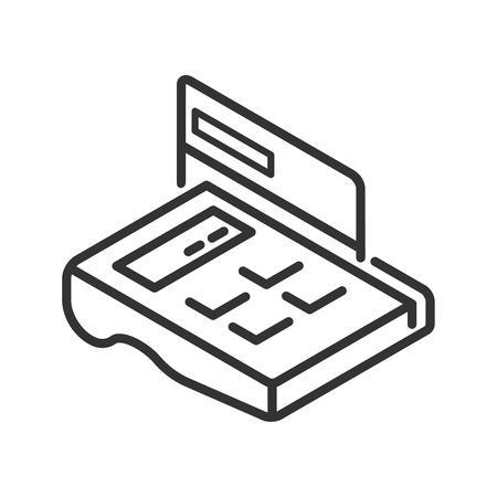 automatic transaction machine: Posición-terminal con la tarjeta de crédito icono de línea Vectores