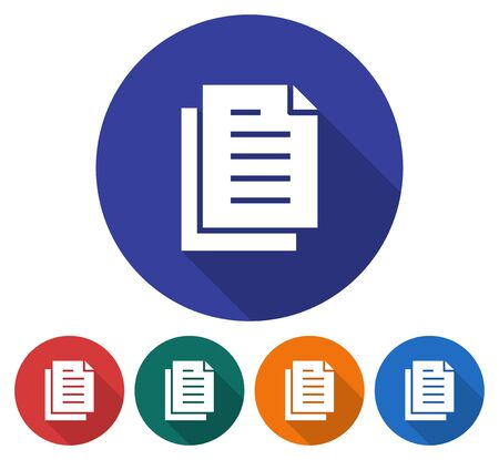 Round icon of documents stack. Flat style illustration with long shadows in five variants background color