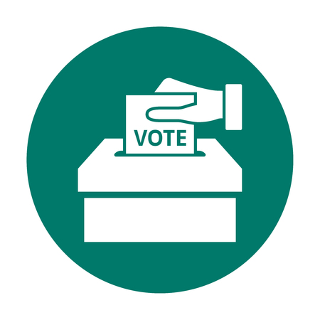 electing: Hand putting voting paper in the ballot box. Flat voting icon Illustration