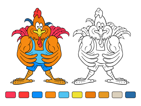 Funny cartoon rooster-bodybuilder shows his huge arm muscles. Coloring book