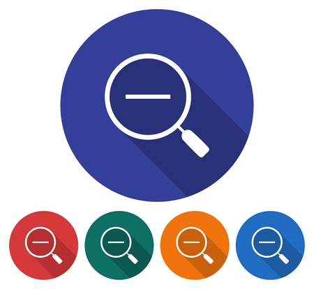 Round icon of decrease magnifying glass. Flat style illustration with long shadows in five variants background color