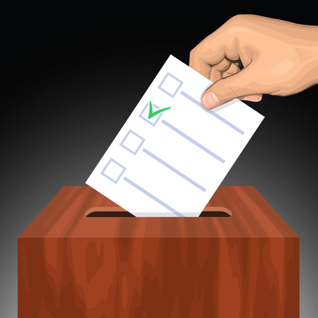 Hand putting voting paper with approved checkmark in the ballot box. Vector illustration Illustration