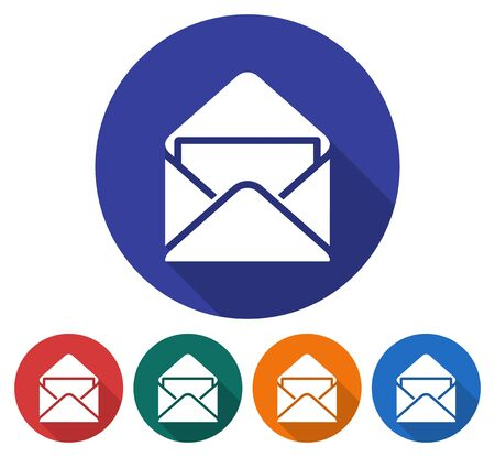 sobres de carta: Round icon of open envelope with letter. Flat style illustration with long shadows in five variants background color Vectores