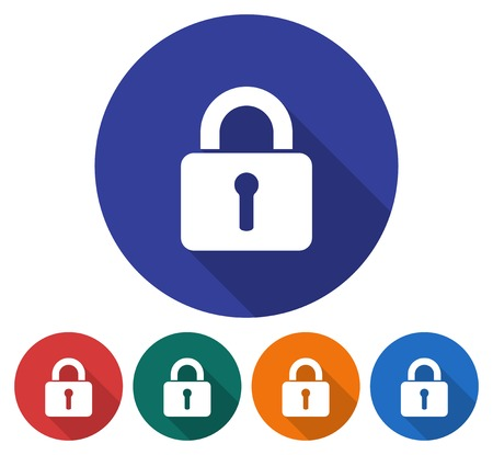 locked: Round icon of locked padlock. Flat style illustration with long shadows in five variants background color