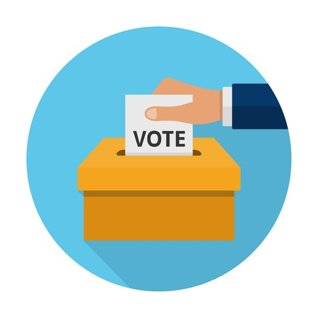 Hand putting voting paper in the ballot box. Flat voting icon Illustration