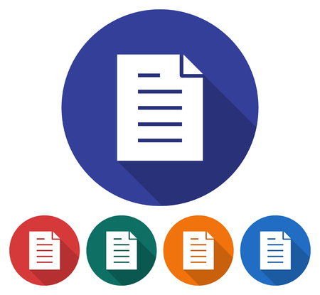 Round icon of document. Flat style illustration with long shadows in five variants background color