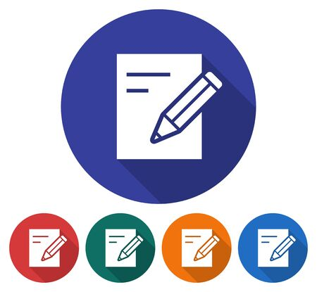 Round icon of document with pencil. Flat style illustration with long shadows in five variants background color Illustration