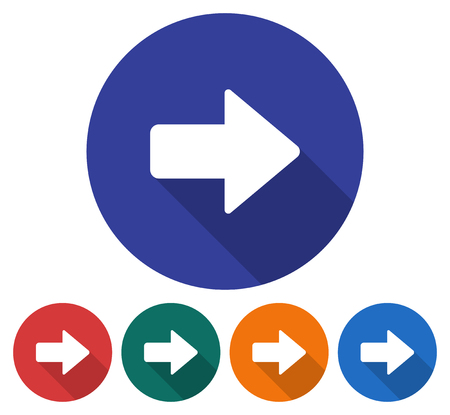directions icon: Round icon of right direction arrow. Flat style illustration with long shadows in five variants background color