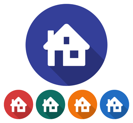 Round icon of home. Flat style illustration with long shadows in five variants background color Illustration