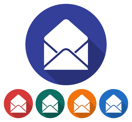 Round icon of open envelope with letter. Flat style illustration with long shadows in five variants background color Illustration