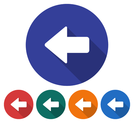 directions icon: Round icon of left direction arrow. Flat style illustration with long shadows in five variants background color Illustration