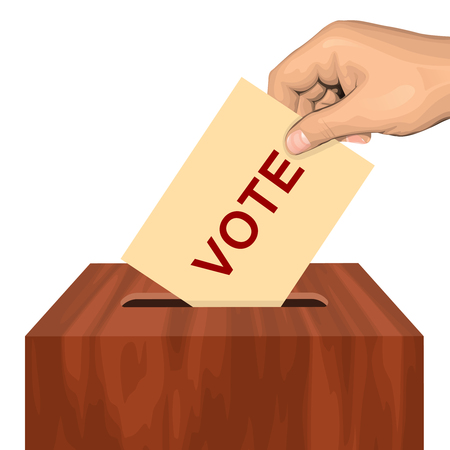electing: Hand putting voting paper in the ballot box