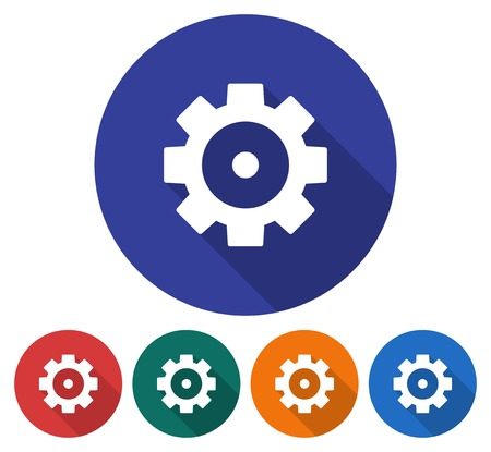 Round icon of cogwheel. Flat style illustration with long shadows in five variants background color