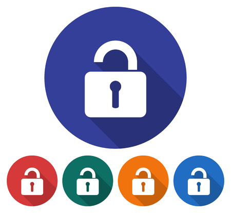 Round icon of unlocked padlock. Flat style illustration with long shadows in five variants background color