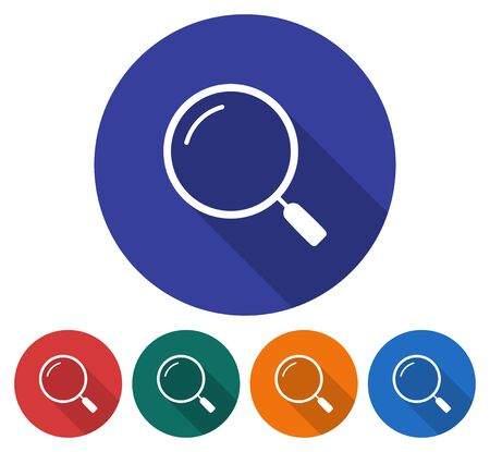 Round icon of magnifying glass. Flat style illustration with long shadows in five variants background color