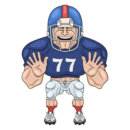lineman: American football player. Cartoon illustration of lineman ready to body check. Isolated on white Illustration