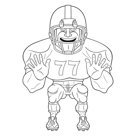 American football player. Black and white illustration of lineman ready to body check