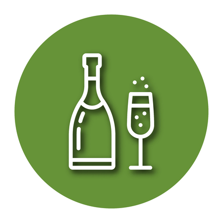 Line icon of champagne with shadow