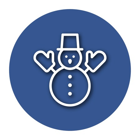 Line icon of snowman with shadow. Illustration