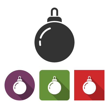 Christmas tree decoration  icon in different variants with long shadow