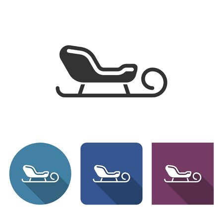 Sleigh icon in different variants with long shadow Illustration